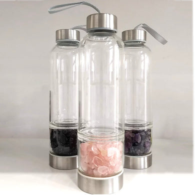 Gemstone Infused Glass Water Bottle by eco+amour