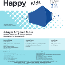 Load image into Gallery viewer, Kids Face Mask, Organic Face Mask Kids, Happy Face Mask