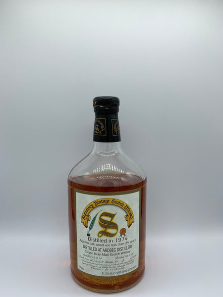 1 x 20ml sample of Ardbeg 1974 Signatory Vintage 24 Years Old, US bottling, #657-658, 51.3%