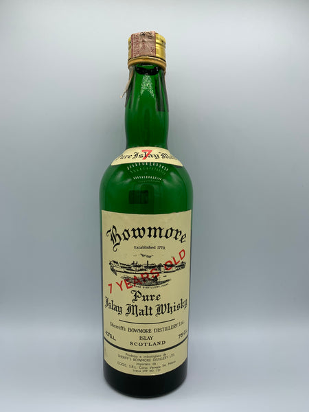 1 x 20ml sample of Bowmore 7 Years Old OB Sheriff's COGIS Import bottled circa 1970s, 43%