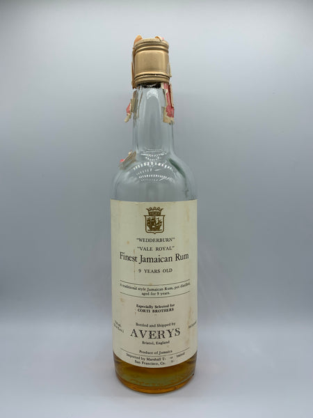 1 x 20ml sample of Finest Jamaican Rum Webberburn and Vale Royale 9 Years Old Avery's for Corti Brothers, 86.8 US proof