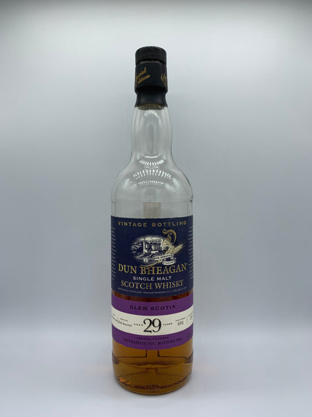 1 x 20ml sample of Glen Scotia 1975 Dun Bheagan 29 Years Old matured in rum barrel #691, 43.1%