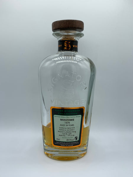 1 x 20ml sample of Mosstowie 1979 Signatory Vintage 34 Years Old #1305, 49.9%