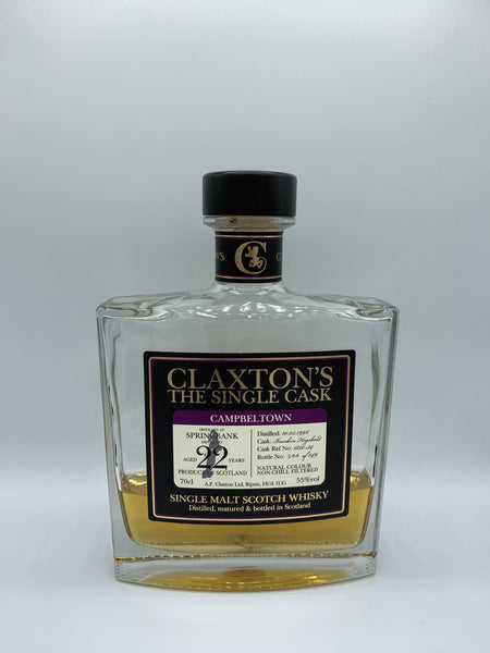 1 x 20ml sample of Springbank 1996 Claxton's 22 Years Old #1850-54, 55%