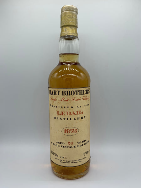 Ledaig 1973 Hart Brothers 21 Years Old white cream label, 43%