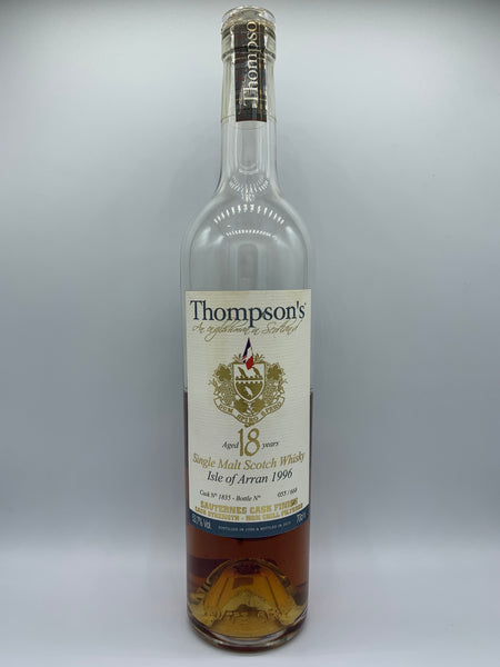 1 x 20ml sample of Arran 1996 Thompson's 18 Years Old Sauternes Cask Finish, #1835, 53.7%