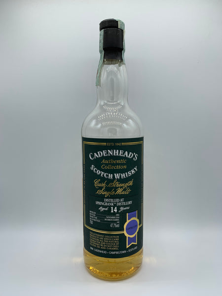 1 x 20ml sample of Springbank 2002 Cadenhead's Authentic Collection 14 Years Old, 47.7%