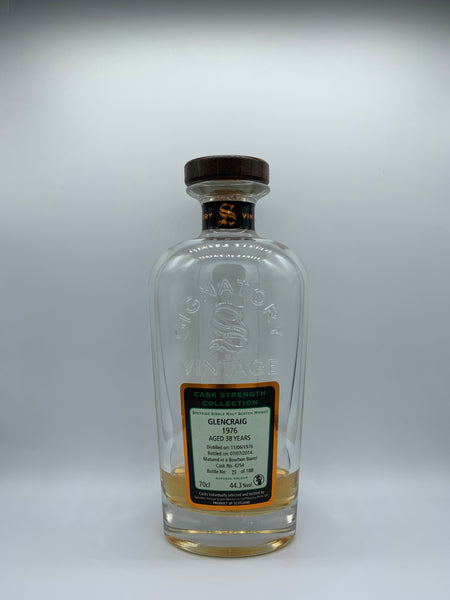 1 x 20ml sample of Glencraig 1976 Signatory Vintage Cask Strength Collection 38 Years Old #4254, 44.3%