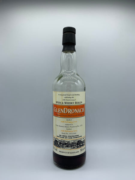 1 x 20ml sample of Glendronach 1996 bottled in celebration of Wein & Whisky Berlin 25th Anniversary #1372, 54.7%