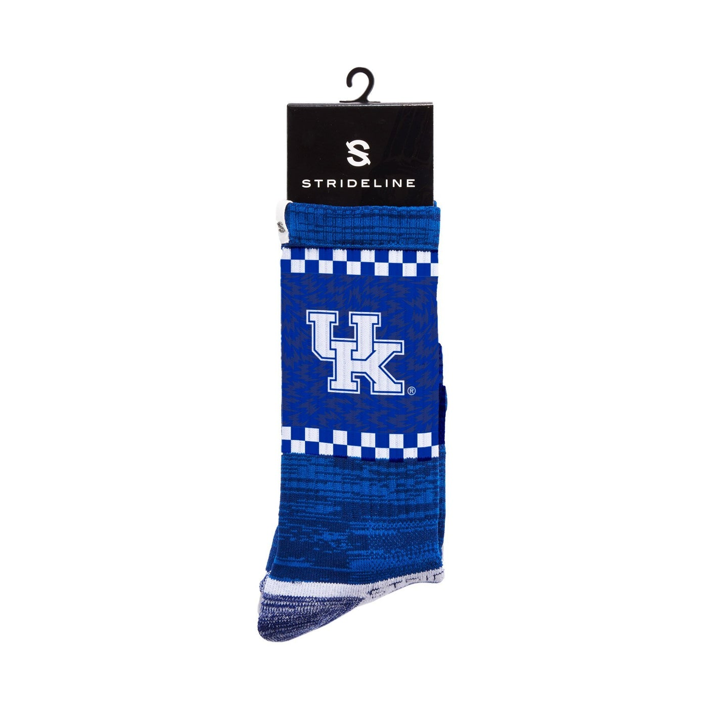 Kentucky Wildcats Checker Stripe Blue Crew Socks C137231