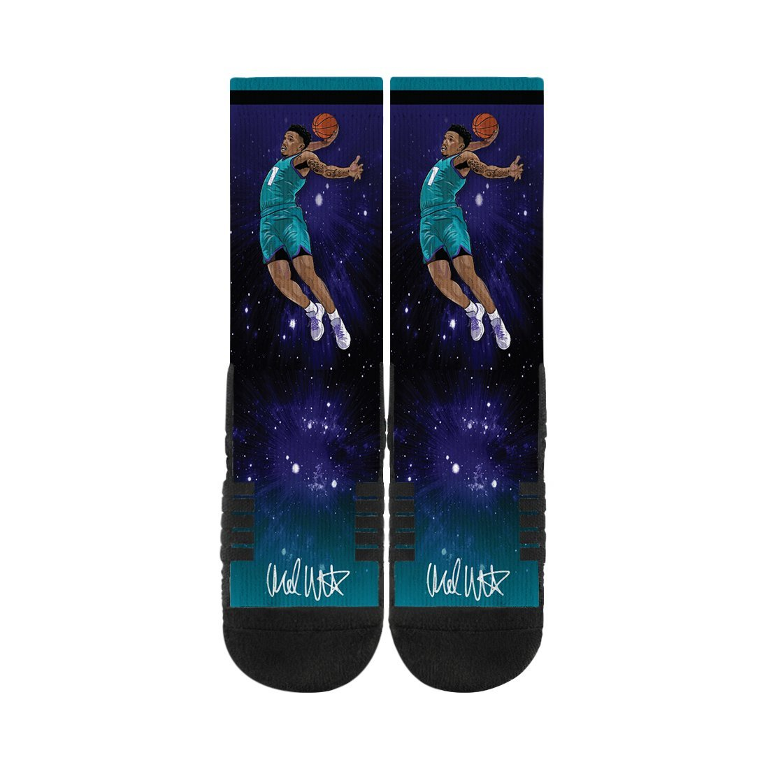 Malik Monk Galaxy Dunk Black Premium Full Sub Socks N00933094ML