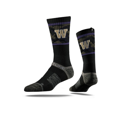 Washington Huskies Camo Dot Black Crew Socks N22346