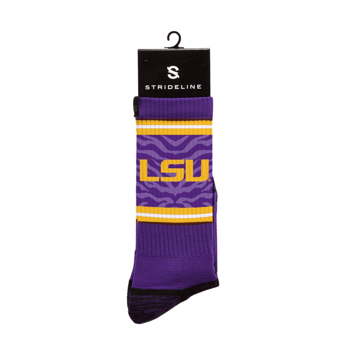 LSU Tiger Stripes Purple Crew Socks C128368