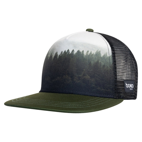 5 PANEL TECHNICAL TRUCKER - FLAT BILL - FOREST