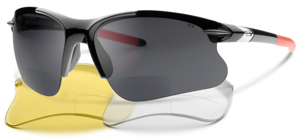 NEW, UPGRADED SL2 Pro-X Bifocal Polarized Bundle - Glasses + Yellow and Clear Non-Polarized Lenses - Reading Sunglasses With a Wrap-Around Sun Readers Designed for Cycling and Sport