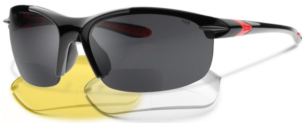 NEW, UPGRADED SL2-X Bifocal Sunglasses Bundle - Glasses + Yellow and Clear Lenses - Reading Sunglasses With a Wrap-Around Sun Readers Designed for Cycling and Sport