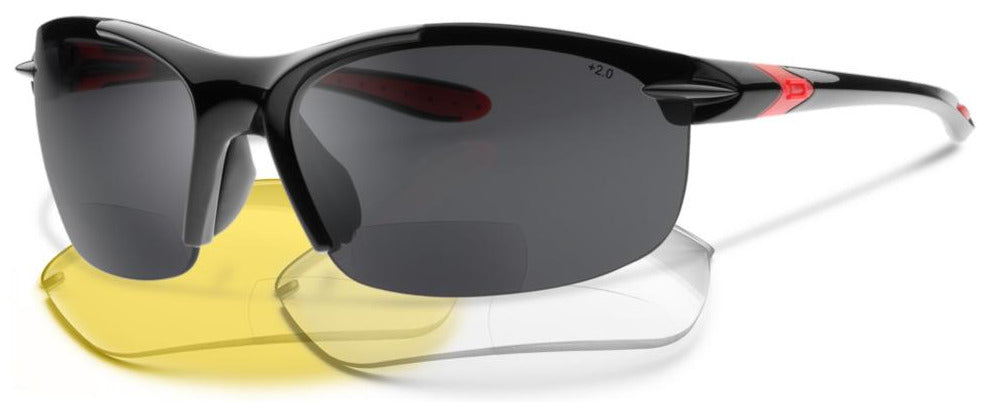 NEW, UPGRADED SL2-X Bifocal Polarized Bundle - Glasses + Yellow and Clear Non-Polarized Lenses - Reading Sunglasses With a Wrap-Around Sun Readers Designed for Cycling and Sport