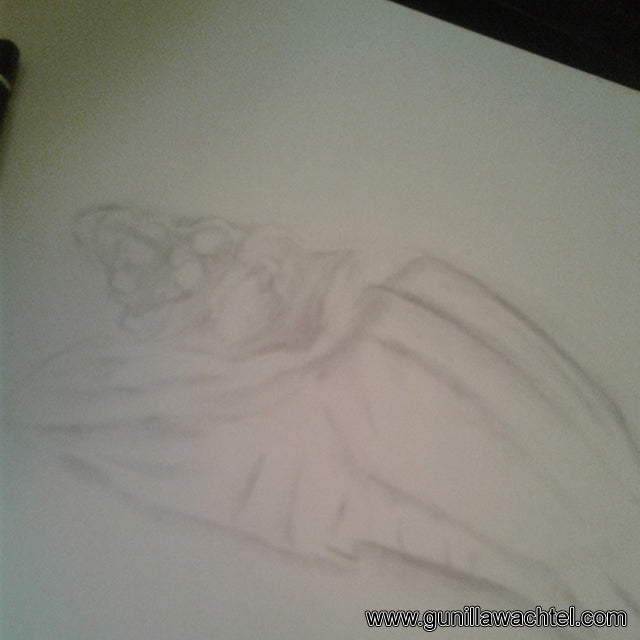 Conch shell drawing another drawing in progress