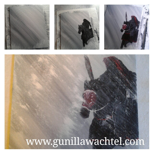 Painting Adventures - Horse and Warrior in Rainy Snow Storm
