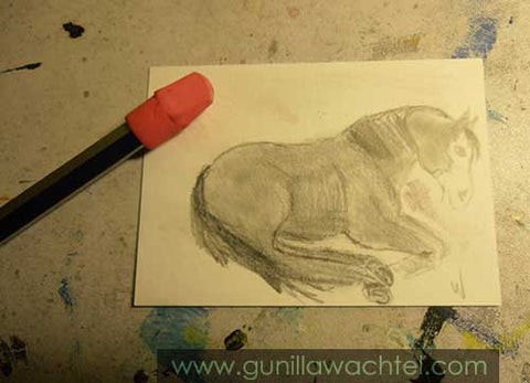 Daily Drawing 28 ACEO horse sketch with background - Gunilla Wachtel