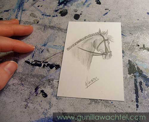 ACEO horse Mini Treasures Drawing Gunilla Wachtel