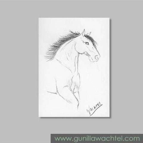 February Mini Treasures Horse ACEO card Gunilla Wachtel