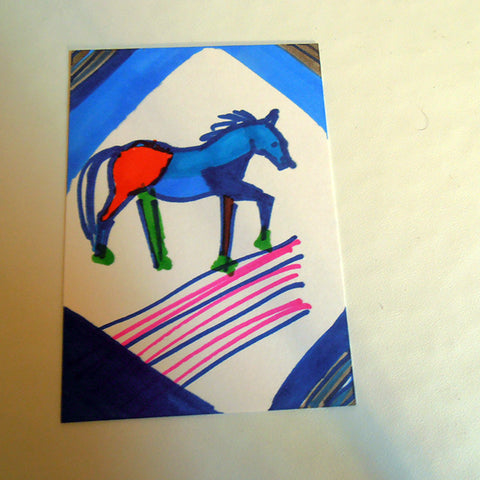Colorful fun horse ACEO card Gunilla Wachtel