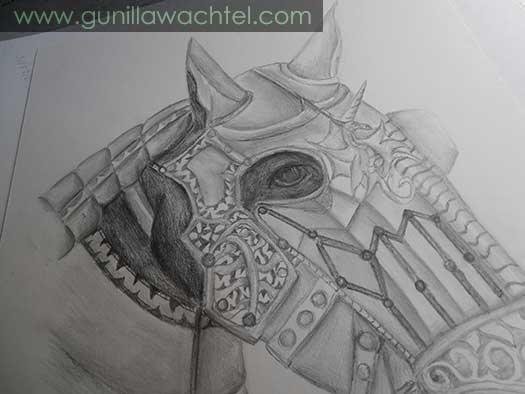 Another progress picture of the Armored Horse drawing by Gunilla Wachtel