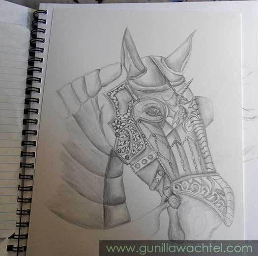 Armored Horse Drawing by Gunilla Wachtel