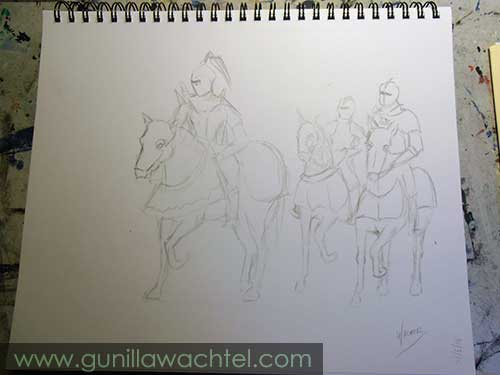 Horses and Knights - Concept Sketch - Gunilla Wachtel
