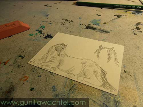 Daily Drawing 29 ACEO horse sketch Gunilla Wachtel