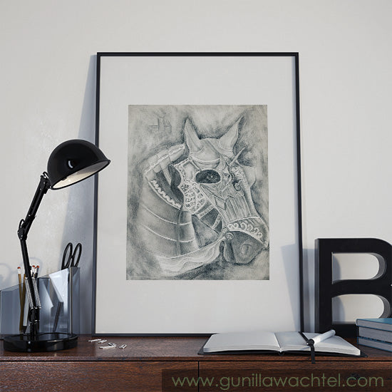 Armored Horse Drawing Fit For Fight - Gunilla Wachtel Equine Art