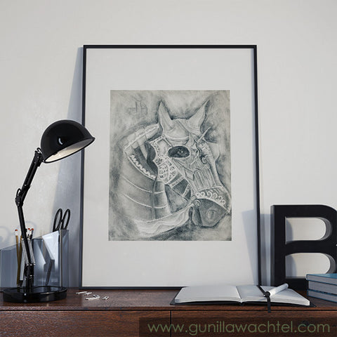 fit for fight- pencil print Gunilla Wachtel horse drawing