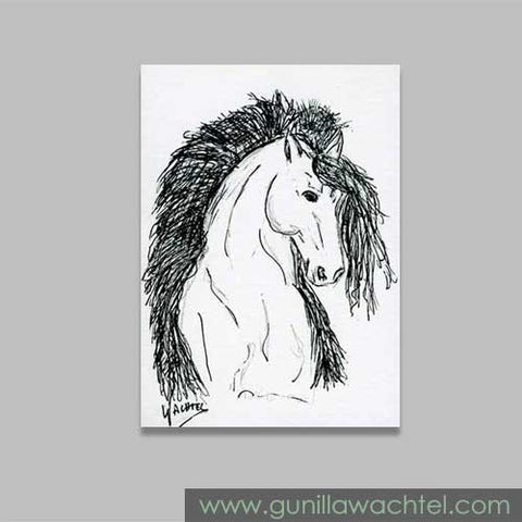 Friesian ACEO original drawing Gunilla Wachtel