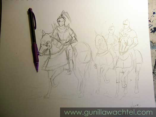 Knights and Horses - Gunilla Wachtel Drawing