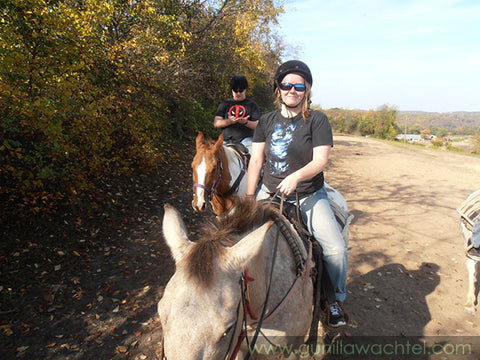Me and hubby on a trail ride - Kanweienea Kreations