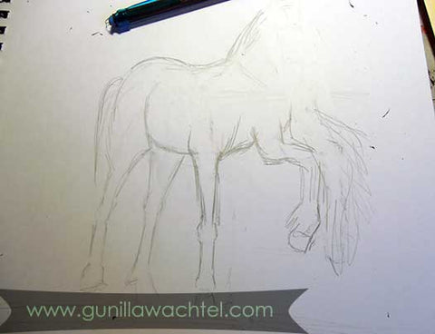Working on horse concept sketches - Gunilla Wachtel