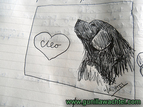 Cleo the Newfoundland Dog - Pen Sketch - Gunilla Wachtel