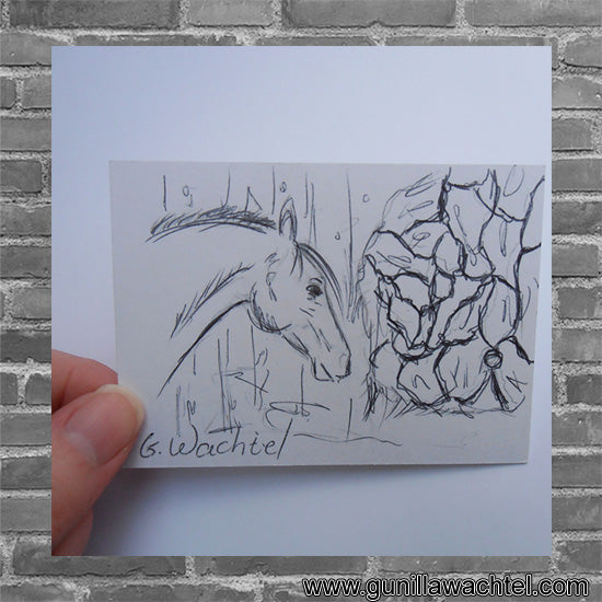 Original Artwork ACEO drawing Gunilla Wachtel