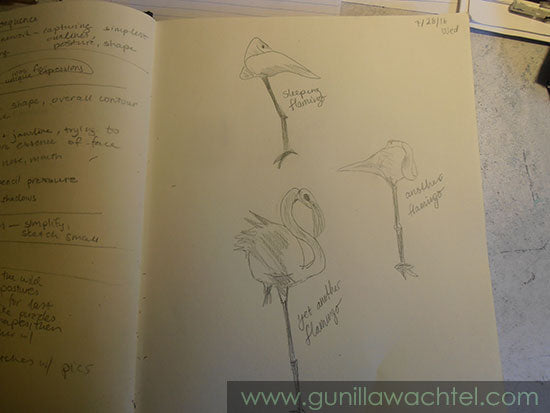 Sketch of Flamingos - Gunilla Wachtel