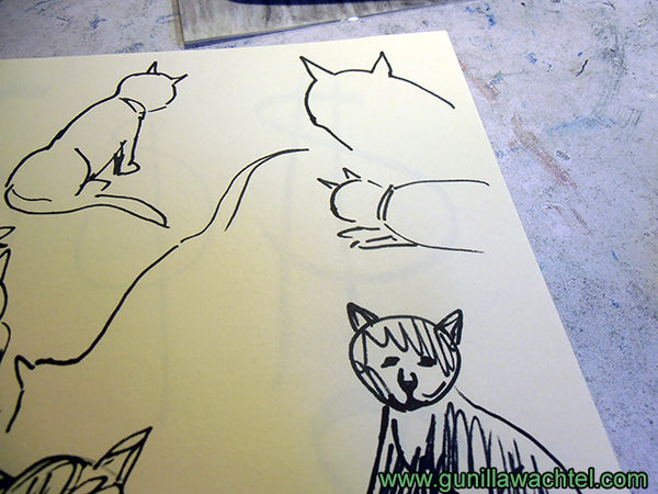 Sketchbook pages cats Gunilla Wachtel