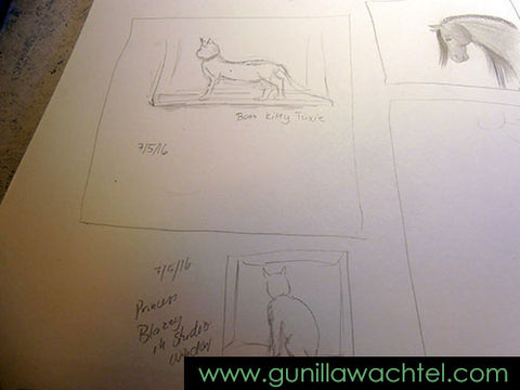 Gunilla Wachtel - Pencil Sketch - Sketchbook page animals