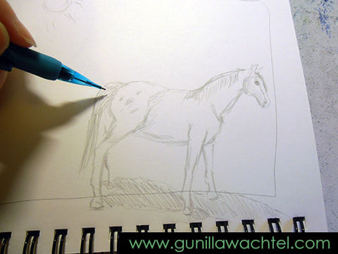 Working on a horse sketch - Gunilla Wachtel