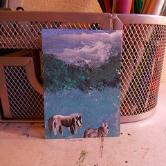 Original ACEO pencil drawing of horses enjoying a nice summer's day