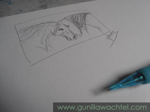 Two horses love - concept sketch - Gunilla Wachtel