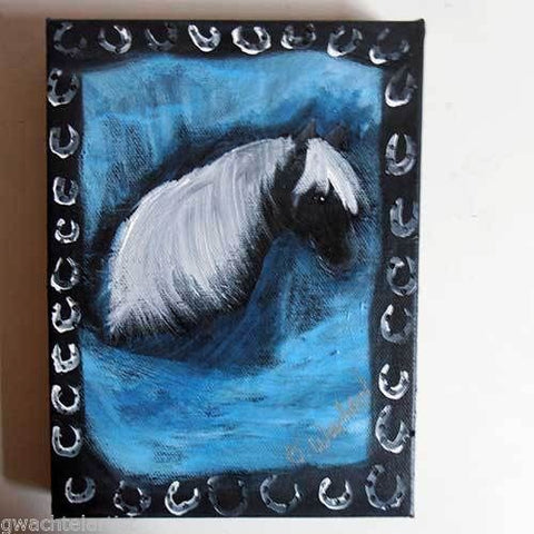 Whimsical horse painting by animal artist Gunilla Wachtel