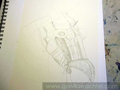 Armored Horse Work in Progress drawing - updated - Gunilla Wachtel
