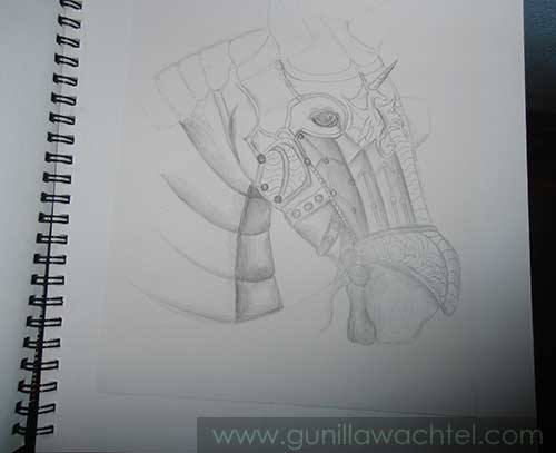 Armored Horse Work in Progress drawing - another update of this artwork - Gunilla Wachtel