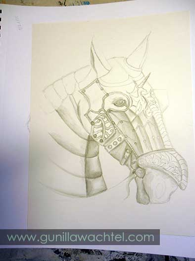 Armored Horse Work in Progress Drawing by Gunilla Wachtel