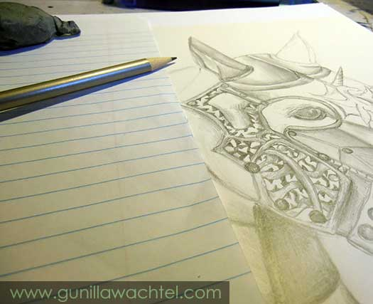 Armored Horse Drawing by Gunilla Wachtel - Work in Progress
